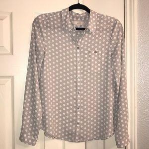 LOFT Gray/White Polka Dot Blouse